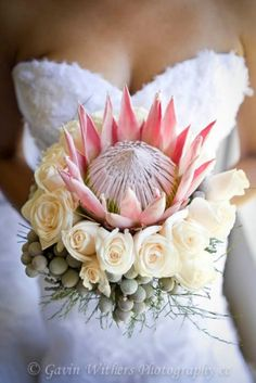 Beautiful exotic flowers in a South African wedding bouquet. Protea Wedding, Wedding Bouquets, Wedding Hijab, Wedding Ceremony, Wedding Venues, Wedding Dresses, Bouquet Bride, Rose Bouquet, Safari Wedding