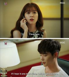 W Two Worlds She is so hilarious and cute with these fake saranghae scenes and his reactions on them The cuteness level of this two! And we're only on episode 4 Korean Drama Funny, Korean Drama Stars, Korean Drama Quotes, W Kdrama, Kdrama Memes, Bts Memes, K Pop, Moorim School, Korean Shows