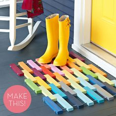 How To: Make a Colorful DIY Wooden Slat Door Mat! even diff retro wall art design could be made like this Wooden Slats, Wooden Flooring, Wooden Diy, Diy Wood, Wooden Blocks, Ceramic Flooring, White Flooring, Farmhouse Flooring, Linoleum Flooring