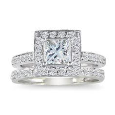 1/2ct Pave Princess Diamond Bridal Set in 14k White Gold, Available Ring Sizes 4-9, Ring Size 5 (Jewelry)