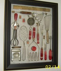 Shadow box with inherited, vintage kitchen tools: If you've been wondering what to do with your mother and grandmother's kitchen tools (other than using them, of course) Barbara Mariani has just provided one great idea. Kitchen Utensils, Kitchen Tools, Kitchen Gadgets, Kitchen Ideas, Kitchen Design, Kitchen Ware, Kitchen Layout, Do It Yourself Furniture, Do It Yourself Home