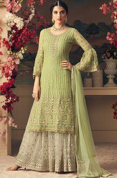 Light Green & Off White Designer Heavy Embroidered Net Sharara Suit Pakistani Dresses, Indian Dresses, Indian Outfits, Western Dresses, Pakistani Sharara, Shadi Dresses, Indian Salwar Kameez, Patiala, Off White Designer