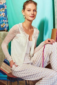 44ecb30ad26b Knitted & Knotted Pom-Fringe Cardigan - love the details on the very  romantic cardi.
