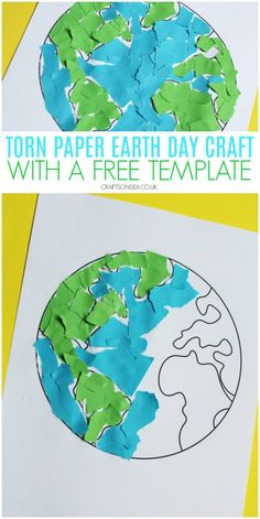 Torn Paper Earth Craft (With a FREE Template) - Crafts and Activities for Kids - earth day craft for kids torn paper with a free template preschoolers easy - Earth Day Activities, Art Activities For Kids, Preschool Activities, Earth Craft, Earth Day Crafts, Projects For Kids, Crafts For Kids, Paper Craft For Kids, Art Projects