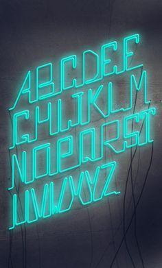 Rech Neon PseudoScript Typography by José Velázquez, via Behance