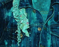 Indigo and Aqua Jacket Small Junior Teen Denim Blue by DivineRagz, $25.00