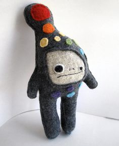 Gray and Rainbow Dot Strange Foo Recycled Wool Plush by sighfoo