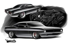70 Cuda Rendering Pro Touring Hemi Muscle car Drawing Andreas Hoås Wennevold