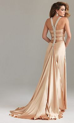 A-Line Halter Champagne Elastic woven satin Homecoming Dress