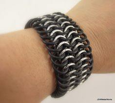 Large Rubber and Aluminum Bracelet Chainmail by JSWMetalWorks