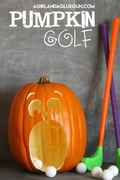 First one to make a whole in one wins everyone's Halloween candy (just kidding). Get the tutorial at A Girl And A Glue Gun » What you'll need: carveable pumpkin ($40, amazon.com), X-Acto knife ($6, amazon.com), toy golf set ($28, amazon.com)