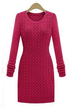 Pink knit sweater dress.