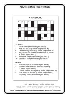 Picture of DL39 April Crossword