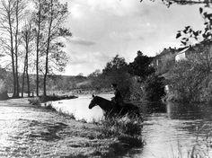 Postman on horseback near Withypool, Somerset, 1938.