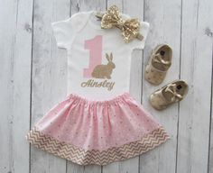 Bunny 1 First Birthday Outfit  pink gold some bunny is