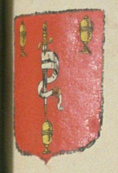 La communauté des chirurgiens de la ville d'Apt. Porte : de gueules, à une épée posée en pal, la pointe en bas, dans un foureau de sable, et attachée à un ceinturon de même sable, bouclé d'or, le bouterolle aussy d'or, accompagnée de trois boëtes aussy d'or | N° 42
