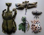 Sandra Baud - Série 4 (5 insectes) - Linogravure sur tissus - Prix : 240 euros