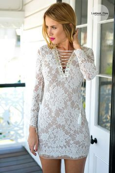 Make their heads turn by wearing this white lace-up sheath lace dress. It's an über-flattering number with ultra-form fitting design and seductive lace-up detailing. White Lace, Lace Up, Womens Fashion, Fashion Trends, Ootd Fashion, Lace Dress, Ideias Fashion, Bodycon Dress, Sheath Dress