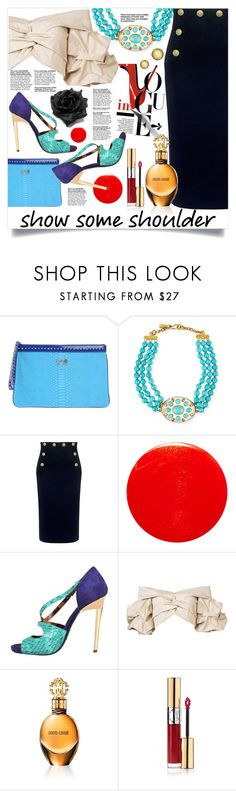 """""""Off shoulder tops"""" by spica-caracterielle on Polyvore featuring mode, Class Roberto Cavalli, Ashley Pittman, RED Valentino, Yves Saint Laurent, Roberto Cavalli, Johanna Ortiz et showsomeshoulder"""
