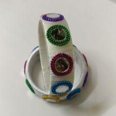 #beautiful and #colorful #silk #thread #bangle  #kada #decorated with #ball #chain #mirror for #classy #look Silk Thread Bangles Design, Silk Bangles, Thread Jewellery, Cuff Bracelets, Thread Work, Jewelry Patterns, Ball Chain, Jute, Diamond Jewelry