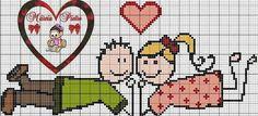 Novios Pixel Crochet, C2c Crochet, Mini Cross Stitch, Love Craft, Cross Stitching, Cross Stitch Patterns, Hama Beads, Embroidery, Valentines