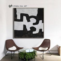 Black and White Canvas Art Abstract Painting Textured image 2 White Canvas Art, Black And White Canvas, Abstract Animals, Abstract Art, Minimalist Painting, Mid Century Modern Art, Wall Art Sets, Texture Painting, Hand Painted