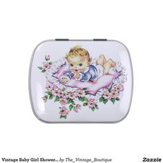 Vintage Baby Girl Shower Candy Jelly Belly Tins
