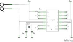 Barebones arduino with no PSU example schematic #arduino