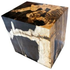 """POLISHED RECTANGULAR PETRIFIED WOOD STOOL Dimensions 19"""" (W) x 14"""" (D) x 19"""" (H) Polished Rectangular Petrified Wood Stool Matching set available, Item #001 Petrified Wood Side Table offered by Organic Findings. Our Petrified Wood Tables are part of a large collection of unique objects. We combine contemporary design ideas with global product sourcing. Organic Findings sources the highest quality petrified wood, please visit our online store."""