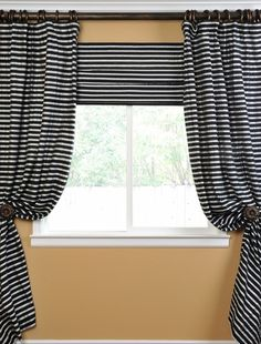 Window Idea- DIFFERENT COLORS! Black And Silver Casual Cotton Curtain Cotton Curtains, Striped Curtains, Home Curtains, Valance Curtains, Drapery, White Casual, Valance Ideas, Weird, Bedrooms