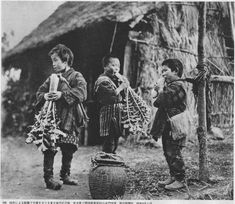 1933 Japan Children in the Tohoku region gnawing radishes. There was widespread famine due to crop failure in Showa for nine years. Iwate Prefecture.