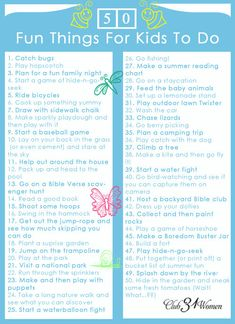 Looking for simple and wholesome ways for your kids to enjoy this spring and summer? Here's a FREE Printable: 50 Fun Things for Kids to Do