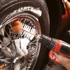 Clean out tyre rims, small openings and other hard-to-scrub spots quickly with a bottlebrush and a cordless drill. Just cut the handle off the brush, put it in the chuck and start scrubbing.   Handyman Magazine  