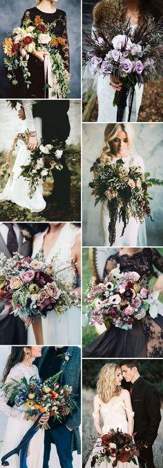 stunning moody fall wedding bouquets ideas