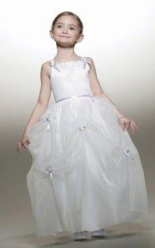 Breiter Träger Duchesse-Linie knöchellanges Blumenmädchenkleid aus Satin