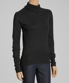 Every wardrobe needs a few beautiful basics, and this sweater fits the bill. A turtleneck collar and long sleeves keep it oh-so warm, for a versatile look that's sure to become a cool-weather staple. Black Turtleneck, Black Sweaters, That Look, Turtle Neck, My Style, Long Sleeve, Sleeves, Cold, Baby
