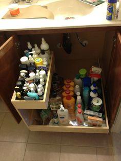 Under the bathroom sink.  Hello organization.