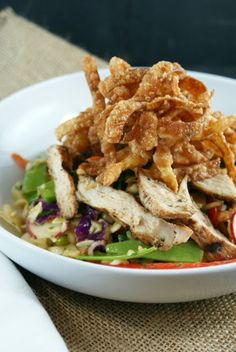 Asian Chicken Salad with Spicy Peanut Dressing