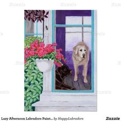 Lazy Afternoon Labradors Painting Poster