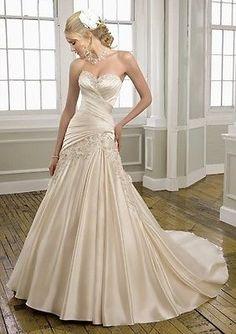 New Champagne Wedding dress bridal dresses Stock Size 6 8 10 12 14 16++or custom