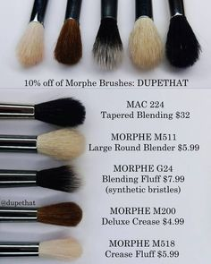 Here's another handful of similar brushes! These Morphe brushes are all pretty similar in shape to the @maccosmetics 224 but I'd say the closest dupe is the @morphebrushes M511. Have you tried any of these? Which is your favorite?! by dupethat