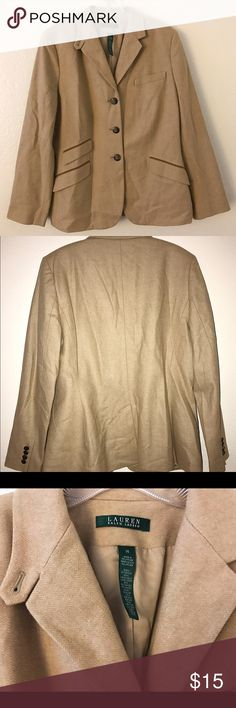 Camel Colored Wool Jacket NO OFFERS PLEASE* Only worn once, perfect condition ! 80% virgin wool, 20% polyamide. Has 3 buttons as well as 1 at the neckline, and 4 pockets. Lauren Ralph Lauren Jackets & Coats