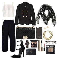"""""""STYLE SUNDAY// BLACK AND GOLD"""" by fionacummings on Polyvore featuring Topshop, Kendall + Kylie, Balmain, Alexander McQueen, MAC Cosmetics, L'Oréal Paris, Marc Jacobs, Kenneth Jay Lane, Mateo and Chanel"""