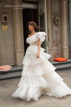 Anna Kuznetcova Okin (2) A Line Bridal Gowns, Tulle Wedding Gown, Modest Wedding Dresses, Elegant Wedding Dress, Wedding Dress Styles, Elegant Dresses, Pretty Dresses, Beautiful Dresses, Formal Dresses