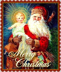 Santa Claus Holds Baby Jesus - A Merry Xmas - x Victorian Era Christmas Card w/Envelope - Blank Inside by ForgottenArtCards on Etsy Vintage Christmas Images, Old Fashioned Christmas, Christmas Scenes, Christmas Past, Victorian Christmas, Father Christmas, Christmas Pictures, Christmas Greetings, Christmas Postcards