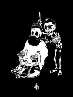 Barbershop Framed Art Print by To The Bones - Vector Black - Barber Logo, Barber Tattoo, Barber Shop Decor, Barbershop Design, Skull Wallpaper, Iphone Skins, Iphone 8, Skull Art, Framed Art Prints