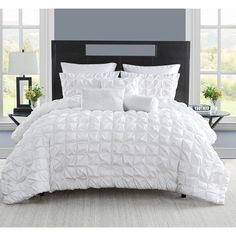 White Pinktuck Puckered Square Pattern Comforter Queen Set Elegance High Class Geometric Textured Pinch Pleated Design Soft & Cozy Solid Bedding Best