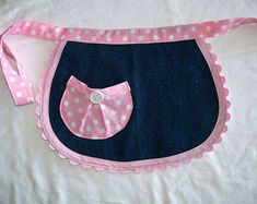 Jean Girl Denim Half Apron - Pink and Blue Size 3 to 4