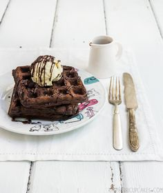 Chocolate Buttermilk Waffles with Fresh Mint Ice Cream - Recipe: http://www.raspberricupcakes.com/2014/01/chocolate-buttermilk-waffles-with-fresh.html