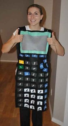 Perhaps the best costume for a math teacher, this calculator costume makes Halloween a great day to introduce sine, cosine and tangent. Halloween Costumes For Work, Halloween Science, Theme Halloween, Halloween Diy, Preschool Halloween, Halloween Makeup, Group Halloween, Halloween Stuff, Halloween Halloween